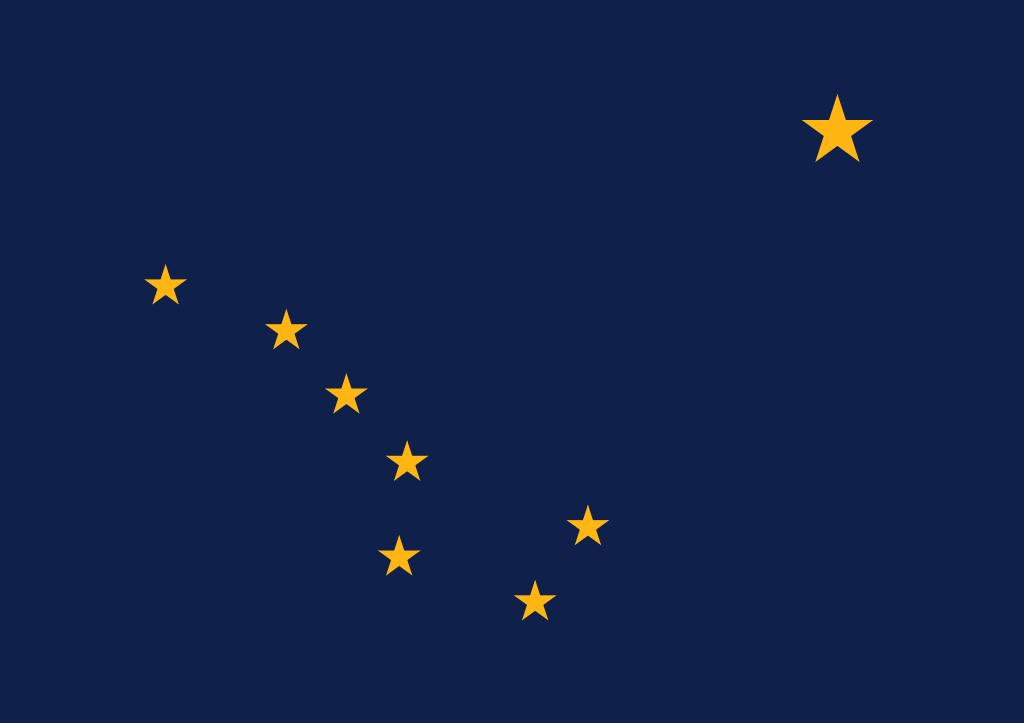 Niebieska flaga alaski z złotymi gwiazdami -
